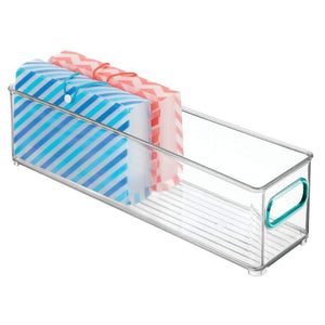 Best seller  mdesign plastic stackable home office storage bin desk and drawer organizer tote with handles for storing gel pens erasers tape pencils highlighters markers 14 5 long 4 pack clear blue