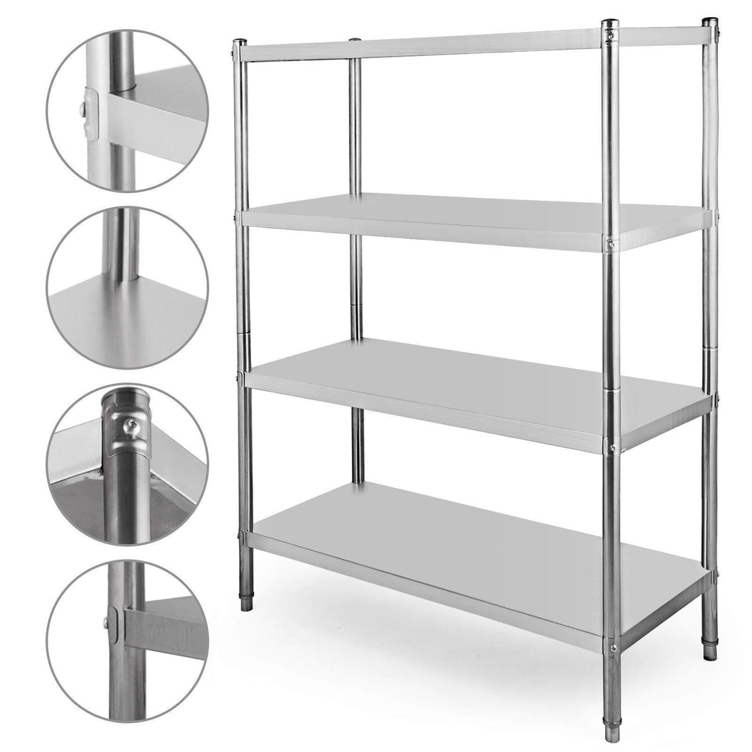 Amazon happybuy stainless steel shelving units heavy duty 4 tier shelving units and storage shelf unit for kitchen commercial office garage storage 4 tier 400lb per shelf