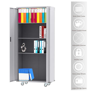 Try bonnlo 74 tall steel storage cabinet rolling metal storage locker with adjustable shelves and door for garage office kitchen laundry room