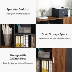 Storage organizer file cabinet little tree 39 large storage printer stand mobile filing office cabinet with wheels door and open shelves for home office dark walnut