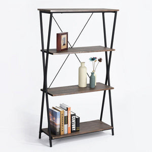 Budget friendly aingoo 4 shelf bookcase vintage industrial bookshelf mdf with metal frame shelving unit home office shelf organizer multipurpose storage shelf display rack brown