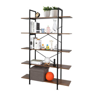 Order now cocoarm 5 tier vintage industrial rustic bookshelf wall mountable bookcase in wood and metal ladder shelf for living room or office organizer storage bookshelf