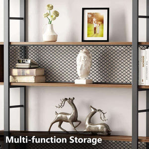The best tribesigns 5 shelf bookshelf with metal wire vintage industrial bookcase display shelf storage organizer with metal frame for home office 47 2 l x 9 4 d x 71 h retro brown