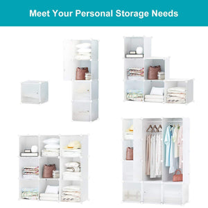 Get honey home modular storage cube closet organizers portable plastic diy wardrobes cabinet shelving with easy closed doors for bedroom office kitchen garage 12 cubes white