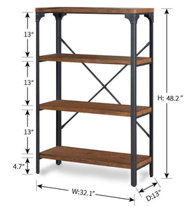 Order now homissue 4 shelf vintage style bookshelf industrial open metal bookcases furniture etagere bookcase for living room office brown 48 2 inch height