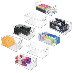 "mDesign Plastic Storage Bin Container, Home Office Desk and Drawer Organizer Tote with Handles - Holds Gel Pens, Erasers, Tape, Pens, Pencils, Markers, Envelopes - 14.5"" Long, 8 Pack - Clear"
