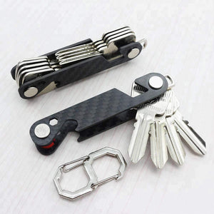 Products multi function black key organizer carbon fiber key chain key ring car accessory office supplies hook and keys by mulwee inc