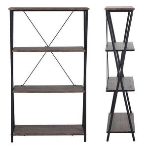 Amazon aingoo 4 shelf bookcase vintage industrial bookshelf mdf with metal frame shelving unit home office shelf organizer multipurpose storage shelf display rack brown