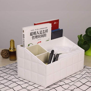 Amazon ladder multifunctional tissue box cover pu leather pen pencil remote control holder office desk organizer white soft sheep