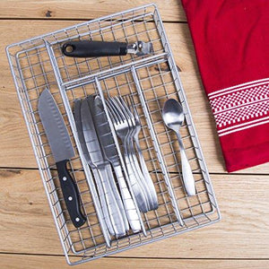 14 Metal 5 Section Flatware Organizer- Cutlery Tray (Nickel Flatware Drawer Organizer)