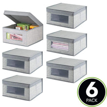Storage organizer mdesign soft stackable fabric closet storage organizer holder bin with clear window attached lid for home office den hallway entryway textured print medium 6 pack gray