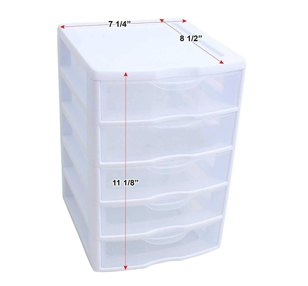 Buy 5 unit plastic shelves drawer organizer shelving storage set solution stackable with clear drawer handles for home office school kids cabinets dresser makeup accessory utility tool white clear 6