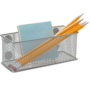 Featured magnetic office organizer set of 3 magnetic rectangular metal mesh storage bins basket perfect for whiteboard refrigerator and locker accessories silver