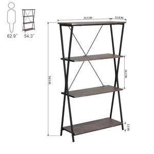 Amazon best aingoo 4 shelf bookcase vintage industrial bookshelf mdf with metal frame shelving unit home office shelf organizer multipurpose storage shelf display rack brown