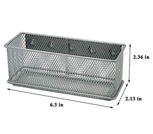 Get magnetic office organizer set of 3 magnetic rectangular metal mesh storage bins basket perfect for whiteboard refrigerator and locker accessories silver