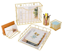 Kitchen superbpag office 5 in 1 desk organizer set gold letter sorter pencil holder stick note holder hanging file organizer and letter tray
