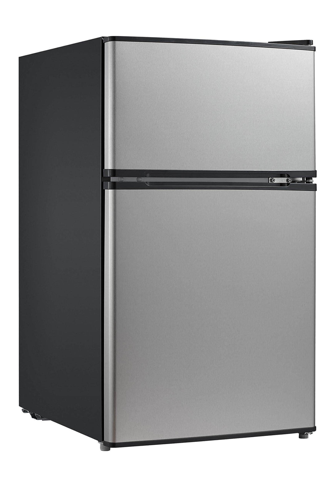 Home midea whd 113fss1 double door mini fridge with freezer for bedroom office or dorm with adjustable remove glass shelves compact refrigerator 3 1 cu ft stainless steel