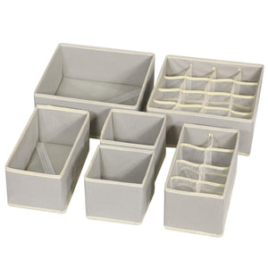 TENABORT 6 Pack Foldable Drawer Organizer Dividers Cloth Storage Box Closet Dresser Organizer Cube Fabric Containers Basket Bins for Underwear Bras Socks Panties Lingeries Nursery Baby Clothes Gray