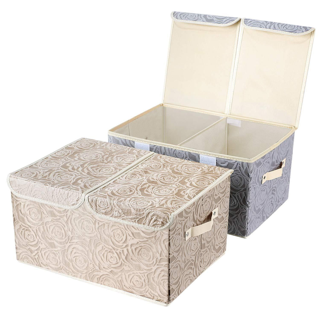 Best seller  2 pack drawer organization large linen 2 sections washable storage with lids and handles foldable closet organizer for nursery closet clothes toy home office bedroom grey khaki18 x 9 8