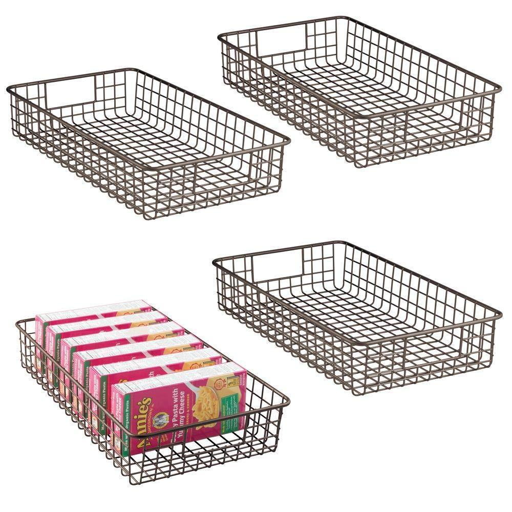 mDesign Household Metal Wire Cabinet Organizer Storage Organizer Bins Baskets trays - for Kitchen Pantry Pantry Fridge, Closets, Garage Laundry Bathroom - 16