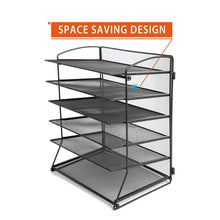 Products desk top file organizer with 6 metal trays holder for document folder letter magazine and paper rack home office blackblack