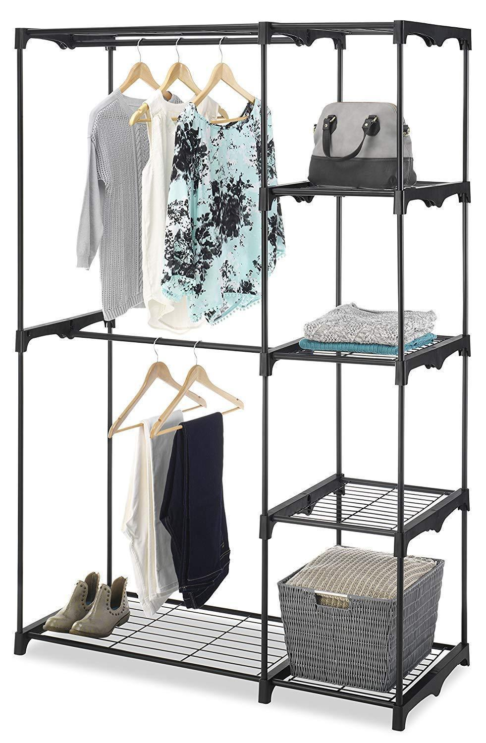 Shop whitmor freestanding portable closet organizer heavy duty black steel frame double rod wardrobe cloths storage with 5 shelves shoe rack for home or office size 45 1 4 x 19 1 4 x 68