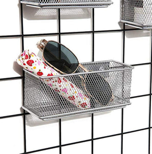Great magnetic office organizer set of 3 magnetic rectangular metal mesh storage bins basket perfect for whiteboard refrigerator and locker accessories silver