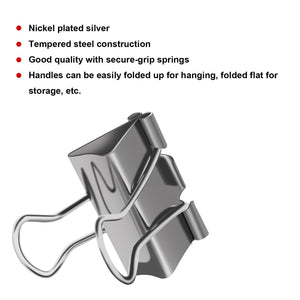 Bright color binder clips, Steel metal binder clips, Paper Clamp, clips for school, work, home, etc. Like a stainless steel clips 1.25 in/0.75 in/2 in (2 inch/50 mm, 6 PCS)