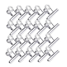 HIHUHEN Metal Hinge Clips, 20 Pieces 1.54inch Stainless Steel Bulldog Paper Binder Clip Clamp for Pictures, Photos, Money, Files Organizing, Home Office Supplies Useage (20 Pieces Silver Clip)