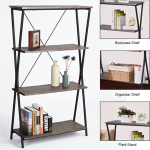 Best seller  aingoo 4 shelf bookcase vintage industrial bookshelf mdf with metal frame shelving unit home office shelf organizer multipurpose storage shelf display rack brown