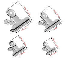 Gydandir 24 PCS Heavy Duty Stainless Steel Binder Clips Hinge Clips for Documents,Files,Pictures,Chip Bags,Home Office School Kitchen Supplies Assorted 4 Size,Silver