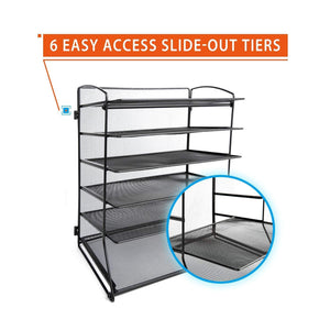 Organize with desk top file organizer with 6 metal trays holder for document folder letter magazine and paper rack home office blackblack