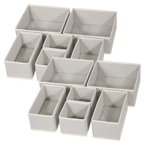 DIOMMELL Foldable Cloth Storage Box Closet Dresser Drawer Organizer Fabric Baskets Bins Containers Divider with Drawers for Baby Clothes Underwear Bras Socks Lingerie Clothing,Set of 12 Grey 444