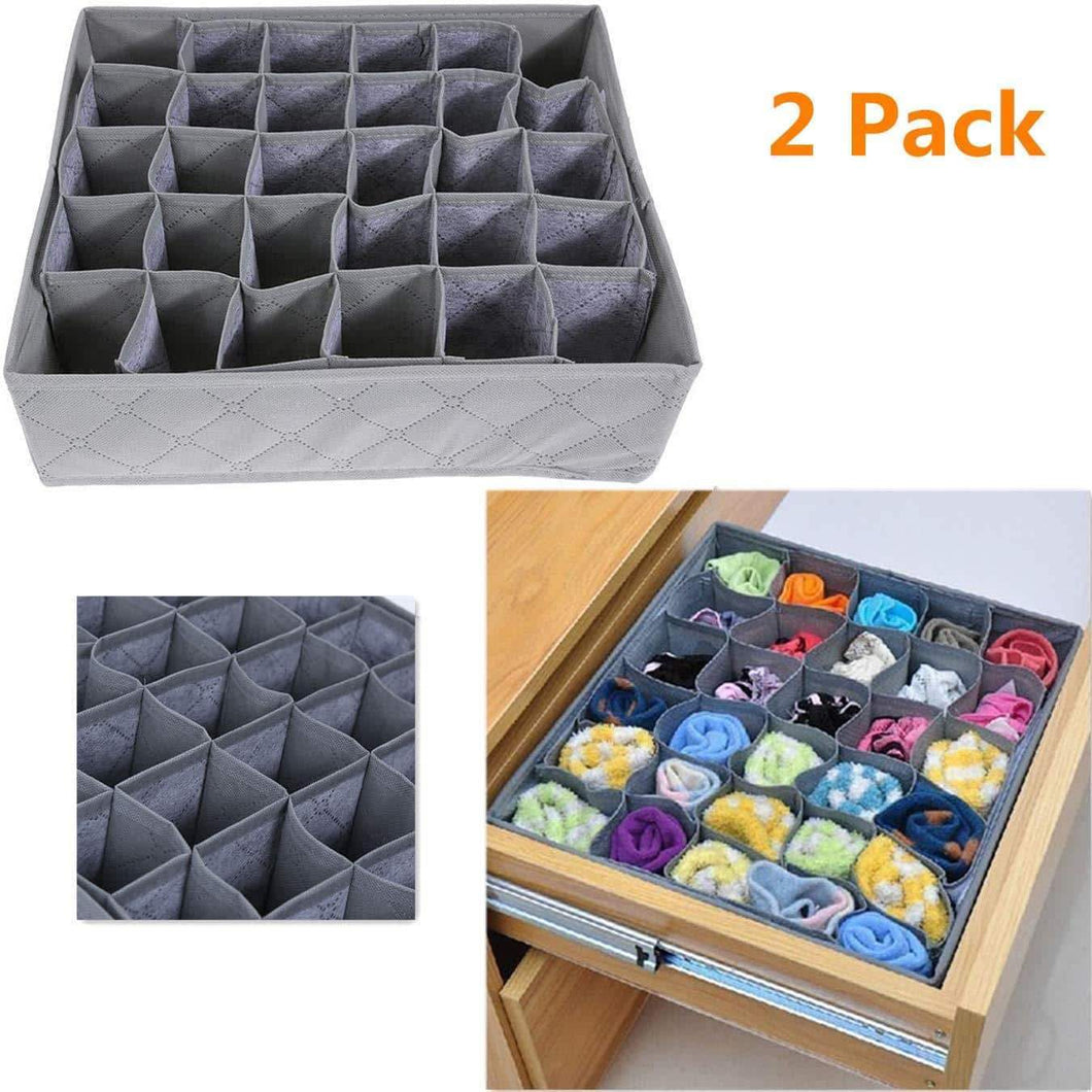 LivingBox Bamboo Charcoal Foldable Drawer Dividers Socks Organizer 30 Cell Storage Box for Storing Baby Clothes, Socks, Underwear, Handkerchiefs, Scarf, Glove, Ties