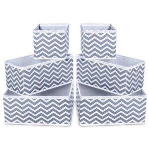 Storage Bins, iSPECLE Foldable Cloth Storage Cubes Drawer Organizer Closet Underwear Box Storage Baskets Containers Drawer Dividers for Bras, Socks, Scarves, Cosmetics - Set of 6, Grey Chevron Pattern