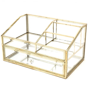 Glass Makeup Organizer Drawer Cosmetic Storage for Vanity,Stunning Divided Cabinet to Hold Makeup/Perfume/Brushes/Creams/Skincare, Large Beauty Products Display for Countertop/Mirrored VanityTray