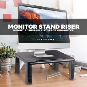 Shop here computer desk monitor stand riser with height adjustable feet office storage organizer shelf for desktop printer screen tv tablet holder black 4 pack