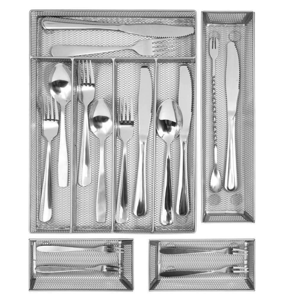 Kitchen silverware Drawer Organizer, 5+3 Separate Compartment with Anti-slip Mats Mesh Kitchen Cutlery Trays Silverware Storage Kitchen Utensil Flatware Tray