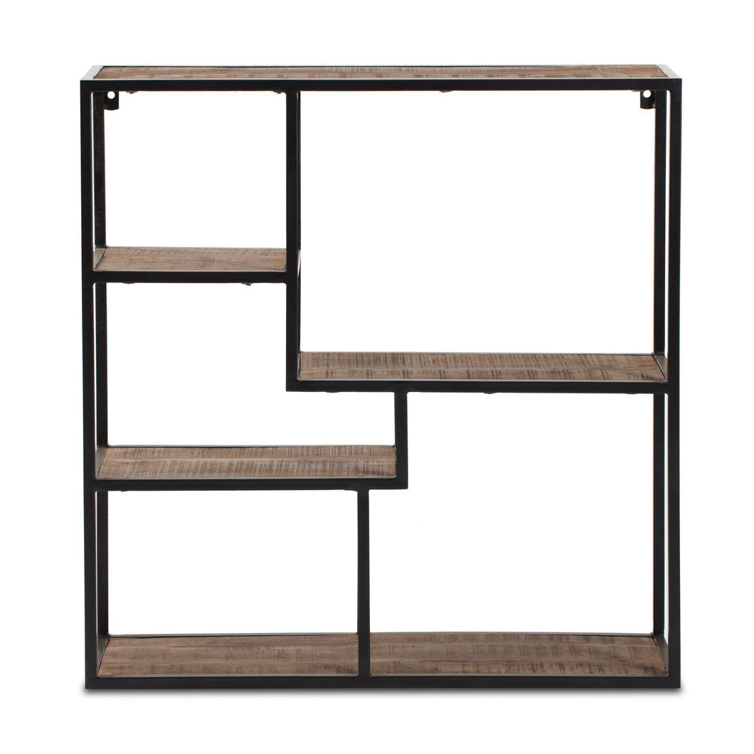 Exclusive madeleine home aurora square wall mounted floating shelf ware house themed accent display storage ledge with metal frame decor shelf for kitchen living room bedroom office