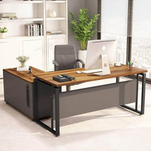 Try little tree l shaped computer desk 55 executive desk business furniture with 39 file cabinet storage mobile printer filing stand for office dark walnut