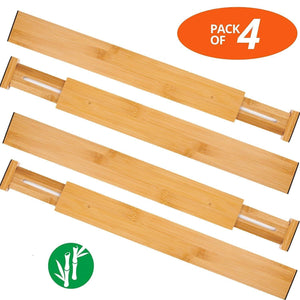 Oberhoffe Adjustable Expandable Dividers Bamboo Drawer Divider Drawer Organizers 100% Natural Bamboo Best for Kitchen, Dresser, Bedroom, Bathroom,Desk- Set of 4