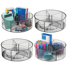 Great mdesign deep plastic lazy susan turntable storage container divided spinning organizer for home office supplies pens erasers tape colored pencils 4 pack smoke gray
