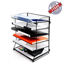 Purchase desk top file organizer with 6 metal trays holder for document folder letter magazine and paper rack home office blackblack