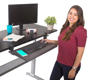 Storage stand steady easy clamp on keyboard tray large size no need to screw into desk slides under desk easy 5 min assembly great for home or office