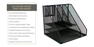 Shop here blu monaco black wire mesh desk organizer vertical file organizer letter tray inbox organizer all in one office desktop organizer black metal mesh