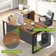 Budget friendly little tree l shaped computer desk 55 executive desk business furniture with 39 file cabinet storage mobile printer filing stand for office dark walnut