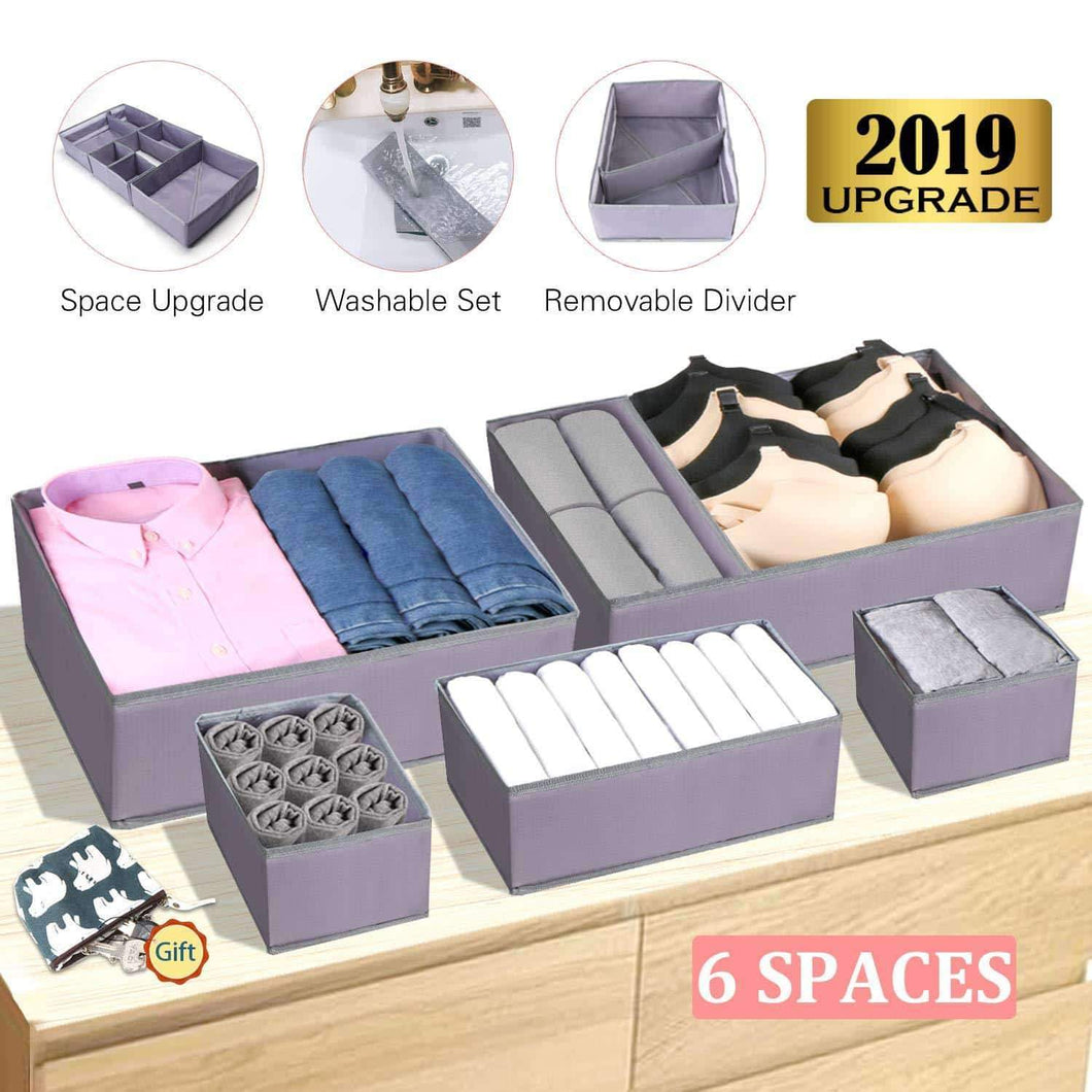 Drawer Organizer Clothes Dresser Underwear Organizer Washable Deep Socks Bra Large Boxes Storage Foldable Removable Dividers Fabric Basket Bins Closet T Shirt Jeans leggings Nursery Baby Clothing,Gray