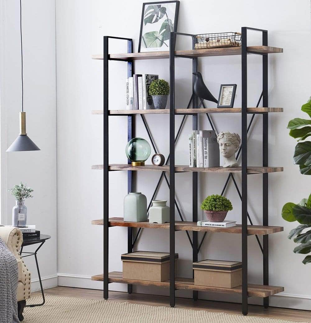 Discover the best o k furniture double wide 5 tier open bookcases furniture vintage industrial etagere bookshelf large book shelves for home office decor display retro brown