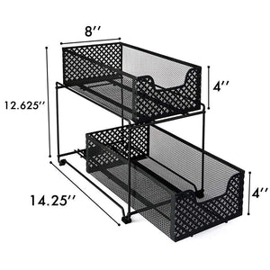 Order now 2 tier organizer baskets with mesh sliding drawers ideal cabinet countertop pantry under the sink and desktop organizer for bathroom kitchen office