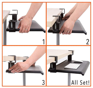Try stand steady easy clamp on keyboard tray large size no need to screw into desk slides under desk easy 5 min assembly great for home or office